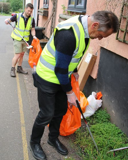 Lesley hard at work, who inspired the group to get together for litter picking in Great Dunmow