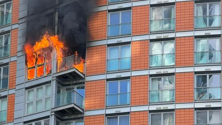 Blaze that broke out on 8th floor of New Providence Wharf on May 7.