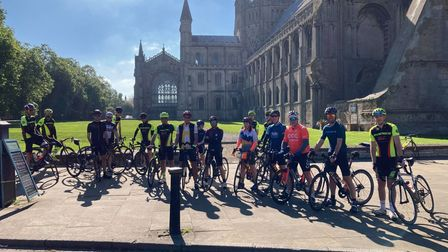 Ely riders at the start of the ride