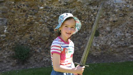 Margo learning how to sword fight. Framlingham Castle half term fun day Picture: CHARLOTTE BOND