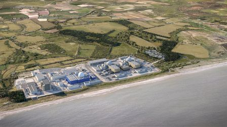 CGI aerial view of the planned Sizewell C reactor