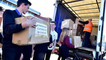 Sprowston Community High School students and staff send aid boxes to Syria.Picture: ANTONY KELLY