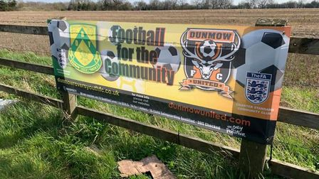 Joint banner with Dunmow Rovers promoting both clubs, evidencing the shared commitment
