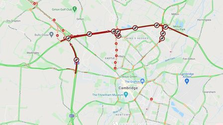 Map produced by Cambs Travel News showing the extent of closures and delays
