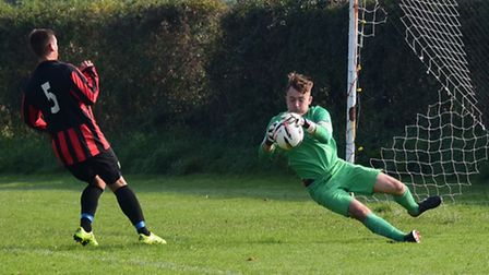 Action from the Sunday League Salhouse Rovers V Sprowston Wanderers. A save by Sprowston goalkeeper