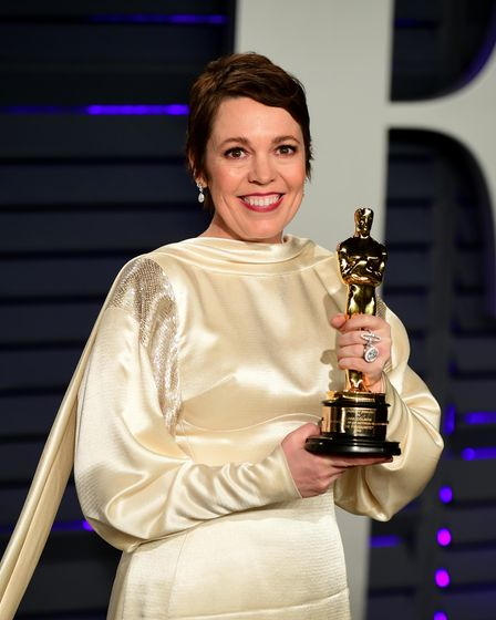 Olivia Colman with her Oscar for Best Actress attending the Vanity Fair Oscar Party held at the Wall