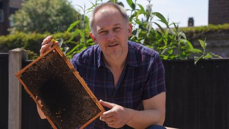 Beekeeper James Croft, from Sprowston, who says there has been an increase in swarms due to the hot