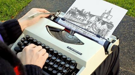 Typewriter artistJames Cook's work will be on display at the Wonky Wheel in Finchingfield