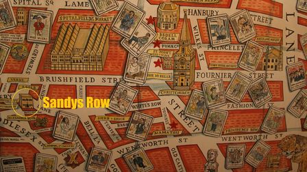 Part of cartographer Adam Dant's famous Spitalfields pictorial map showing Sandys Row (circled, left)