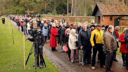 The queues of people waiting to enter the grounds of Sandringham for the Royals to walk to church. P