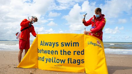 Swimmers should always keep between the red and yellow flags at the beaches