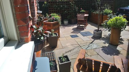 Paved patio area with trellis edging, plants, pots and garden furniture