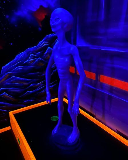One of the aliens you will encounter at GloGolf Peterborough.