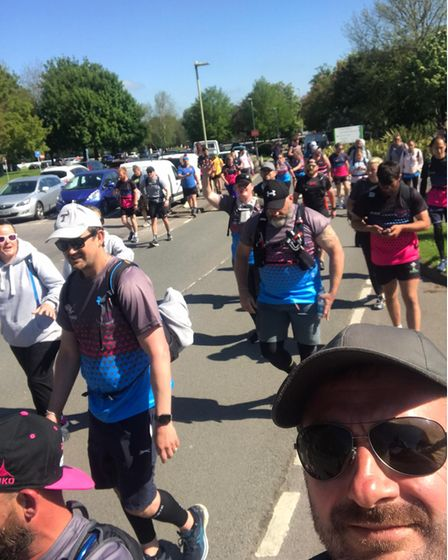 Abbie took part in 'the final trek', walking alongside 62 others from London to Portsmouth.
