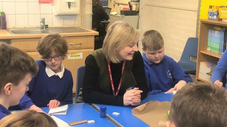 Elizabeth Truss, MP for South West Norfolk, on a visit toWormegay Primary School in 2020.