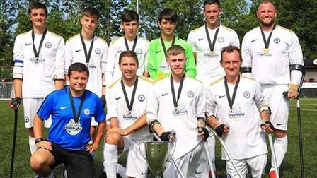 Peterborough United Amputees with the National League trophy 2019