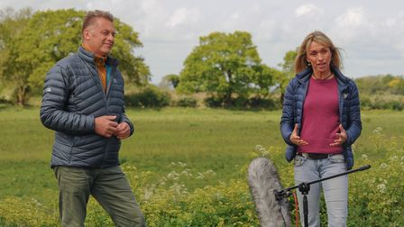 Springwatch presenters Chris Packham and Michaela Strachan being interviews by the local media. Pict