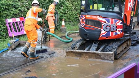 Anglian Water engineers are on site now in Stutton to repair the burst main