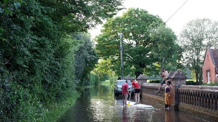 Bentley Lane in Stutton has been completely flooded by the burst main