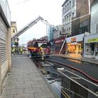 The scene in King Street, Great Yarmouth, on Thursday night after a fire broke out in the Cex shop.
