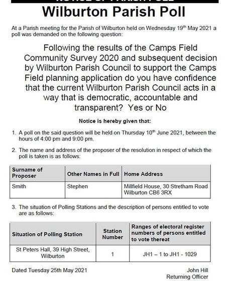 Notice of the special poll in Wilburton on June 10