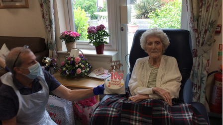 Elise Alder celebrated her 100th birthday in style, surrounded by her family and friends at theColonia Court Bupa Care Home