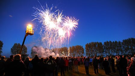 Queens Diamond Jubilee Beacon lighting and firework display at Freethorpe marking the celebration.