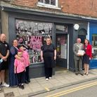 Louise Jarrett, Kim Pearce and Roy Brame outside the Jazzy Cupcake and Candy Company shop