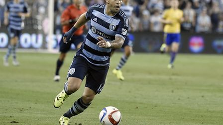 Dom Dwyer in Sporting Kansas City action. Picture: MIKE GUNNOE
