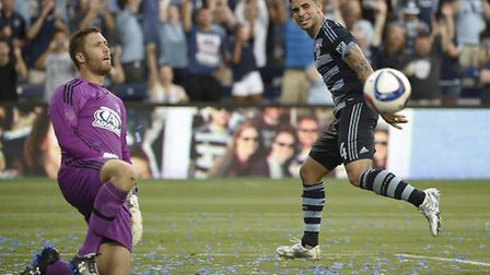 Dom Dwyer wheels away after finding the net again. Picture: MIKE GUNNOE