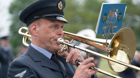 Pictured: Member of the RAF Honington Volunteer Band plays during at the Graduation Ceremony at RAF