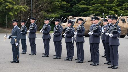Pictured: Trainee Gunner Course TG 5-20 on parade at the Graduation Ceremony at RAF Honington.GRA