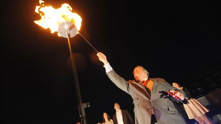 Abeacon was lit at the councilheadquarters in Ipswich to mark the Queen's Diamond Jubilee in 2012