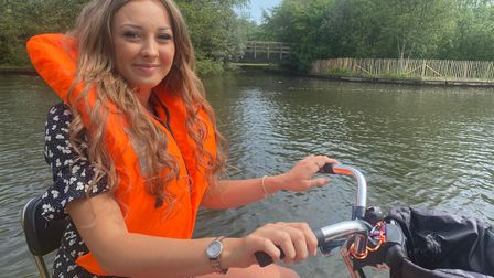 Lishay Dought tries out Buoyancy Bikes in Wroxham.