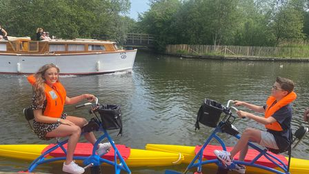 Lishay and Theo Dought tryoutBuoyancy Bikes in Wroxham.