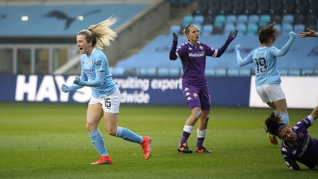 Manchester City's Lauren Hemp celebrates scoring their side's first goal of the game during the Wome