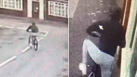 Taken from CCTV of the moment a paper's boy bike was stolen from outside One Stop, Manea, today.