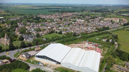 Aerial view of the controversial Knowles warehouse at Manea Road, Wimblington.
