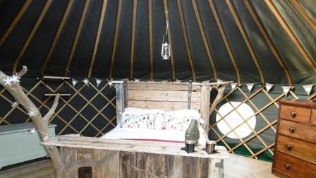 One of the yurts at Suffolk Yurt Holidays in Bredfield