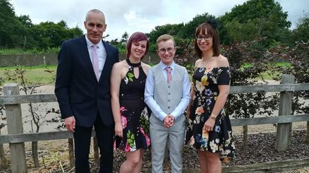 R/L: Michelle with her son Callum, daughter Abi and husband Ian