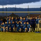 Dunmow Town celebrate winning the COVID Cup