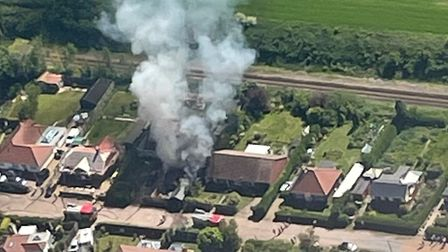 Image taken from light aircraft of fire at house in Cromer.
