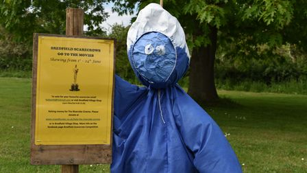 A smurf created as part of the Bredfield scarecrow trail
