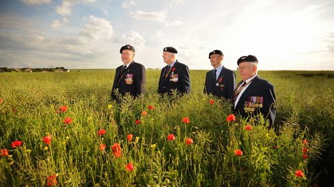 Norfolk Veterans with some poppies. From left, David Woodrow, Jack Woods, Neville Howell, and Alan K