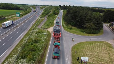 The abnormal load was transported on backroads to avoid causing congestion on the A14