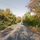 The road has been closed at Benton End on the outskirts of Hadleigh