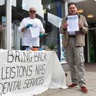 Mark Jones and Steve Marsling are collecting signatures to bring NHS dental services to Leiston