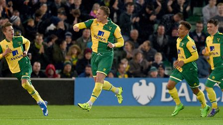 Cameron Norman celebrates his opening goal for Norwich City Under-21s in their Carrow Road defeat to