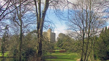 Hedingham Castle - a blocky building made out of stone - sits on a hill behind some trees