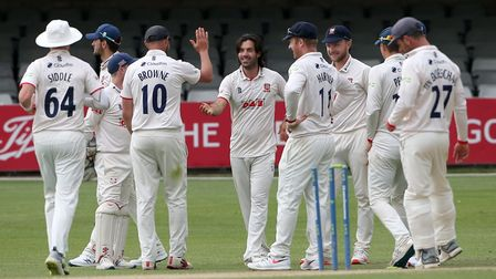 Shane Snater (centre) celebrates a wicket for Essex against Nottinghamshire